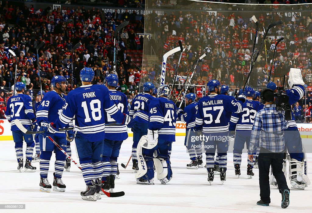 The Toronto Maple Leafs salute the fans after losing to the Montreal Canadiens in their last game of the year during NHL action at the Air Canada Centre April 11, 2015 in Toronto, Ontario, Canada.