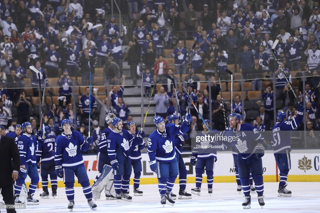 Toronto Maple Leafs play the Washington Capitals lose game six in overtime and their first round Stanley Cup play-off series : News Photo