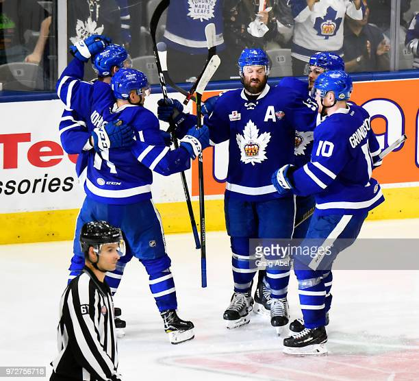 The Toronto Marlies celebrate a goal against the Texas Stars during game 6 of the AHL Calder Cup Final on June 12 2018 at Ricoh Coliseum in Toronto...