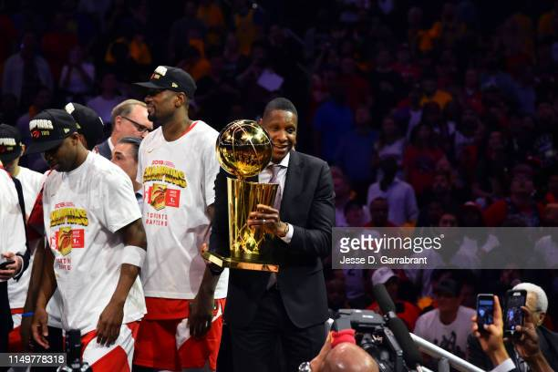 The Toronto Raptors and Masai Ujiri celebrate after winning the 2019 NBA Finals against the Golden State Warriors after Game Six of the NBA Finals on...