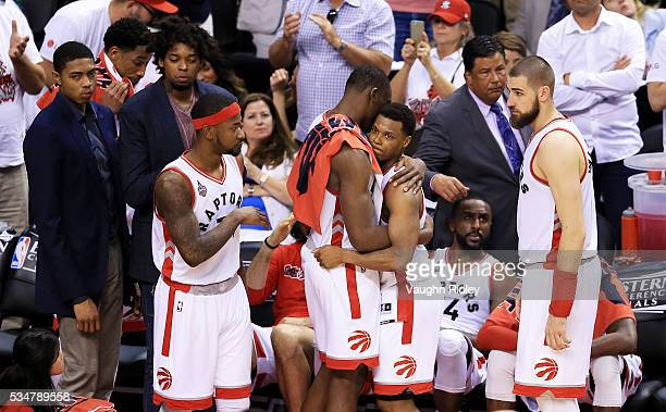 The Toronto Raptors bench reacts against the Cleveland Cavaliers in game six of the Eastern Conference Finals during the 2016 NBA Playoffs at Air...