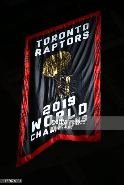The Toronto Raptors Championship banner is revealed prior to the first half of an NBA game against New Orleans Pelicans at Scotiabank Arena on...