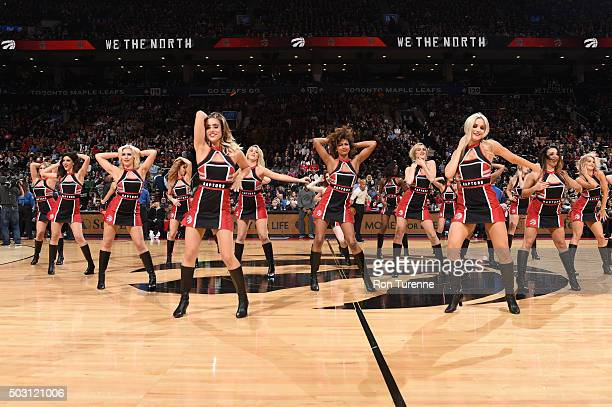 The Toronto Raptors dancers perform during the game against the Charlotte Hornets on January 1 2016 at Air Canada Centre in Toronto Canada NOTE TO...