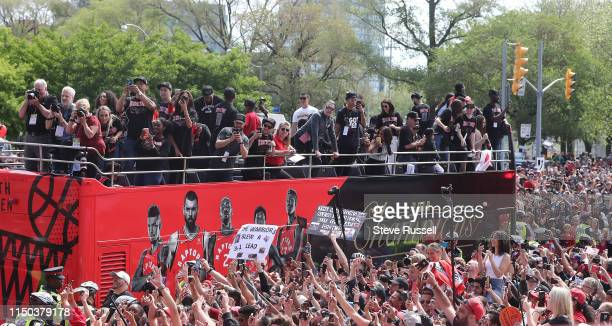 TORONTO ON JUNE 17 The Toronto Raptors hold their victory parade after beating the Golden State Warriors in the NBA Finals in Toronto June 17 2019