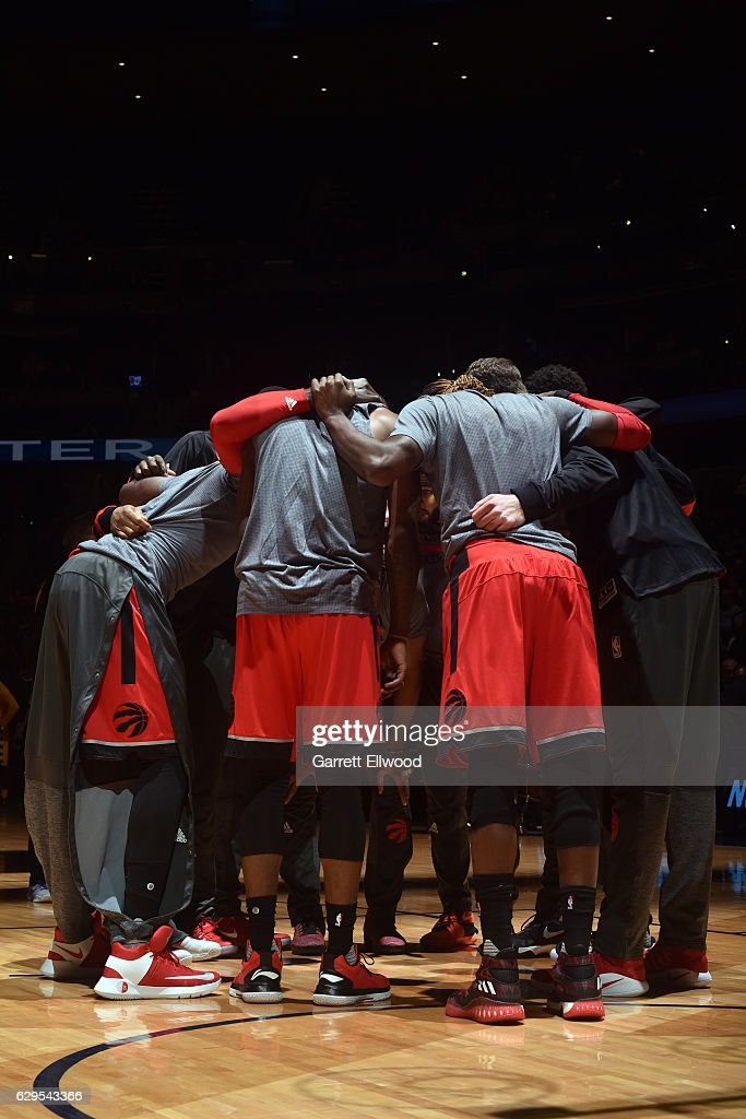 The Toronto Raptors huddle before a game against the Denver Nuggets on November 18, 2016 at the Pepsi Center in Denver, Colorado.