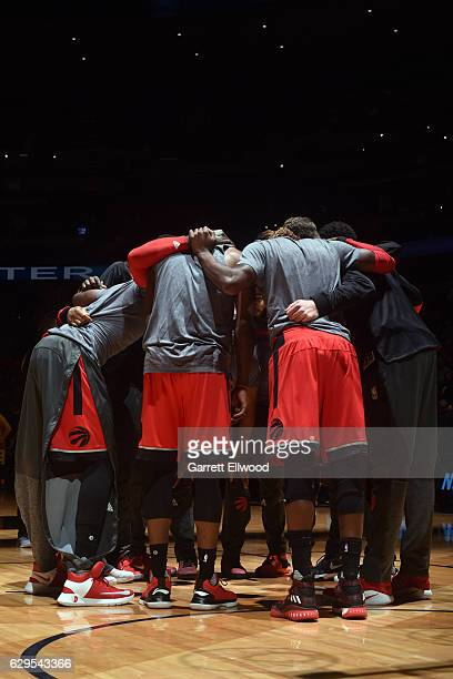 The Toronto Raptors huddle before a game against the Denver Nuggets on November 18 2016 at the Pepsi Center in Denver Colorado NOTE TO USER User...
