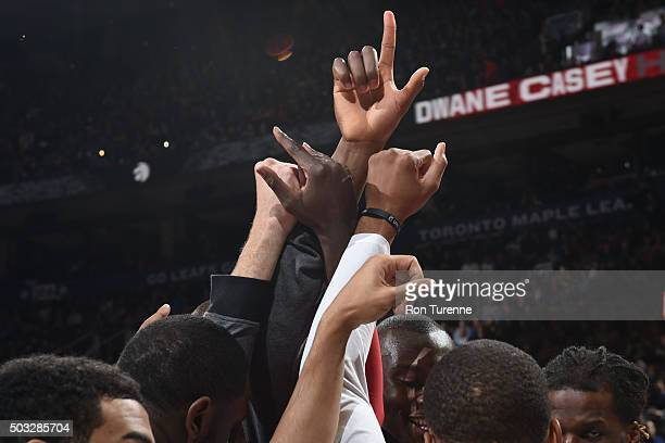 The Toronto Raptors huddle before the game against the Chicago Bulls during the game on January 3 2016 at Air Canada Centre in Toronto Canada NOTE TO...