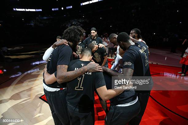The Toronto Raptors huddle before the game against the Golden State Warriors on December 5 2015 at Air Canada Centre in Toronto Ontario Canada NOTE...