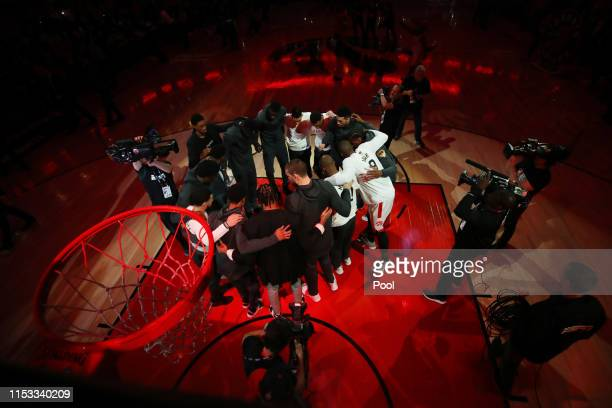 The Toronto Raptors huddle prior to Game Two of the 2019 NBA Finals against the Golden State Warriors at Scotiabank Arena on June 02 2019 in Toronto...