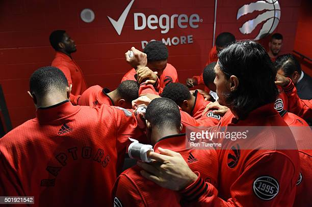 The Toronto Raptors huddle up before the game against the Los Angeles Lakers on December 7 2015 at the Air Canada Centre in Toronto Ontario Canada...