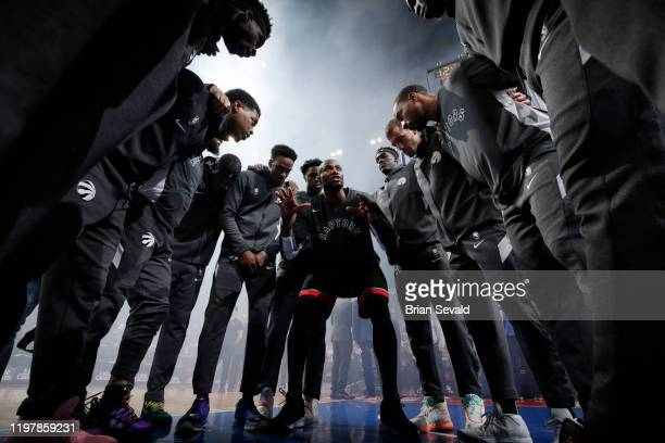 The Toronto Raptors huddle up prior to the game against the Detroit Pistons on January 31, 2020 at Little Caesars Arena in Detroit, Michigan. NOTE TO...