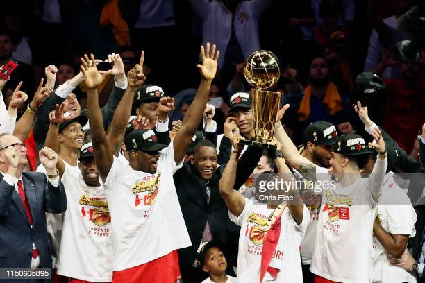 The Toronto Raptors lift the Larry O'Brien Championship Trophy after Game Six of the NBA Finals against the Golden State Warriors on June 13 2019 at...