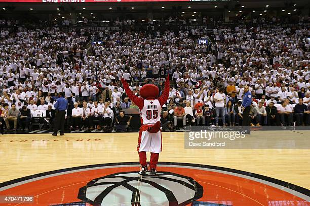 The Toronto Raptors mascot during the game against the Washington Wizards during Game One of the Eastern Conference Quarterfinals of the 2015 NBA...