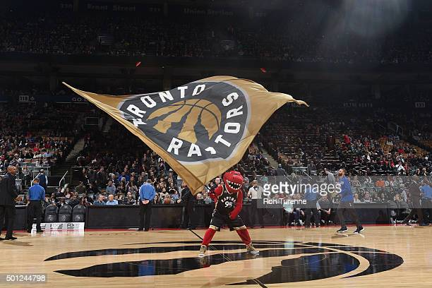 The Toronto Raptors mascot performs before the game against the Philadelphia 76ers on December 13 2015 at the Air Canada Centre in Toronto Ontario...