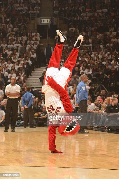 The Toronto Raptors mascot performs during a game against the Atlanta Hawks on October 29 2014 in Toronto Ontario NOTE TO USER User expressly...