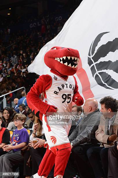 The Toronto Raptors mascot runs through the fans during the game against the Phoenix Suns on November 29 2015 at the Air Canada Centre in Toronto...