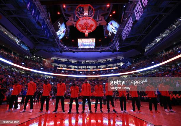 The Toronto Raptors pause for a moment of silence in memory of Gord Downie lead singer of The Tragiacally Hip who died this week prior to an NBA game...