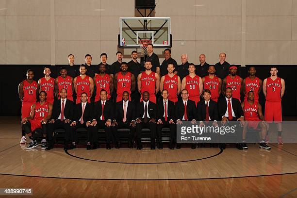 The Toronto Raptors pose for a team photo at Air Canada Centre on April 8 2014 in Toronto Ontario Canada NOTE TO USER User expressly acknowledges and...