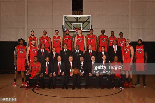 The Toronto Raptors pose for a team photo on April 15 2015 at the Air Canada Centre in Toronto Ontario Canada NOTE TO USER User expressly...