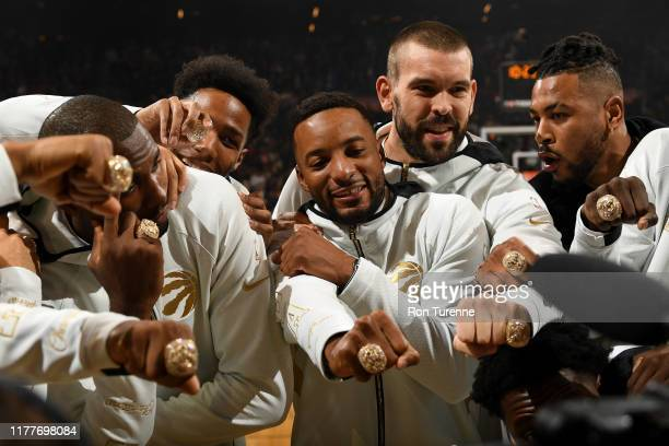The Toronto Raptors recevied their 2019 Championship ring before the game against the New Orleans Pelicans on October 22 2019 at the Scotiabank Arena...