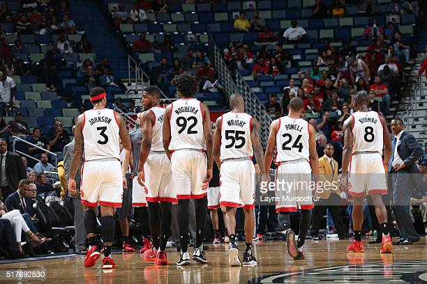 The Toronto Raptors stand on the court during the game against the New Orleans Pelicans on March 26 2016 at Smoothie King Center in New Orleans...