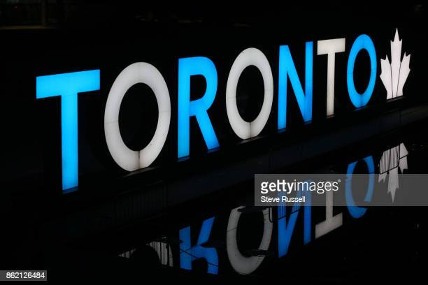 The Toronto sign at Nathan Phillips Square is light up in the blue and white colours of the Somalia flag in memory of the dead and injured in the...