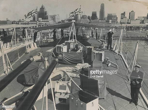 The Toronto Skyline as seen from the deck of HMS Torquay; One Of Three Royal Navy Frigates Visiting Our City; Commander John Rumble is making sure...