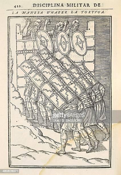 The tortoise formation engraving from a treaty on Roman warfare Discours sur la castrametation et discipline militaire des Romains by Guillaume du...