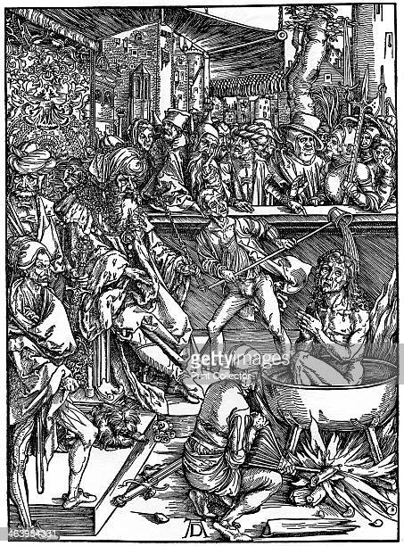 'The Torture of St John the Evangelist' From the 'Apocalypse' series or 'The Revelations of St John the Divine' A print from Durer Und Seine Zeit by...