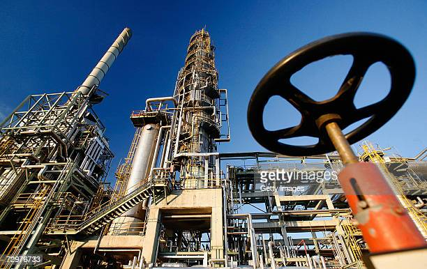 The TOTAL oil refinery is seen on January 10 2007 in Leuna Germany Crude oil from Russia has stopped flowing to the PCK refinery since 600 AM January...