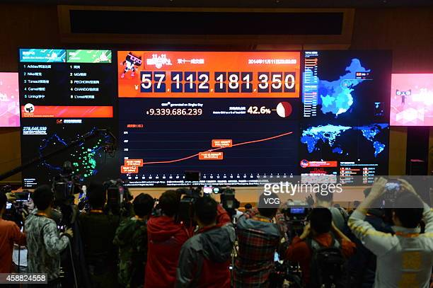 The total transaction volume of Tmall reaches 571 billion RMB during Double Eleven at Alibaba's headquarters on November 12 2014 in Hangzhou Zhejiang...
