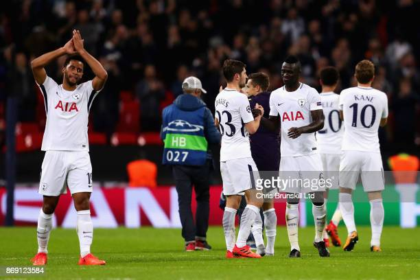 The Tottehnham Hotspur players celebrate after winning the UEFA Champions League group H match between Tottenham Hotspur and Real Madrid at Wembley...