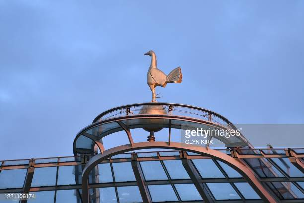 The Tottenham cockerel is seen on top of the stadium during the English Premier League football match between Tottenham Hotspur and Manchester United...