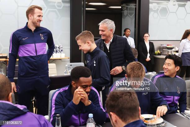 The Tottenham Hotspr ball boy is introduced to the team during a team lunch after being invited by Jose Mourinho Manager of Tottenham Hotspur prior...