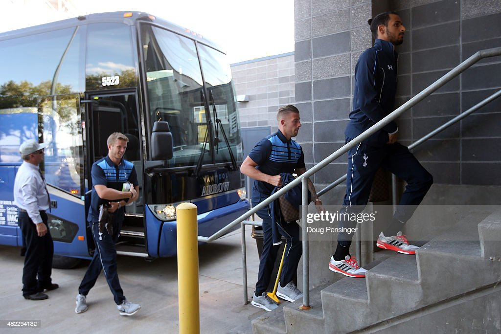 The Tottenham Hotspur arrive at the stadium for their match against the MLS All-Stars for the 2015 AT&T Major League Soccer All-Star game at Dick's Sporting Goods Park on July 29, 2015 in Commerce City, Colorado.