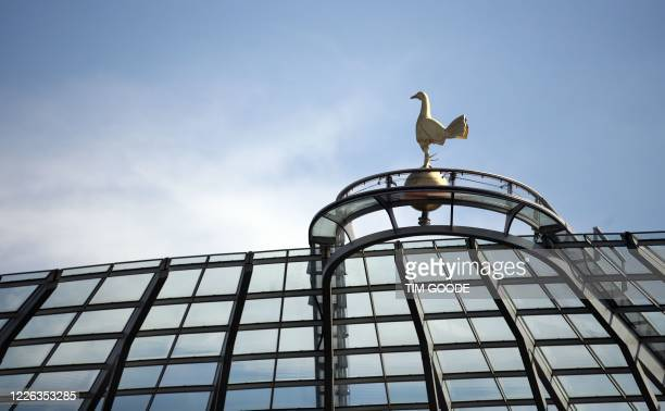 The Tottenham Hotspur cockerel is seen on the roof of the stands ahead of the English Premier League football match between Tottenham Hotspur and...
