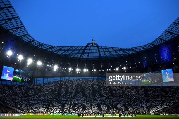 The Tottenham Hotspur fans create a Tifo display prior to the UEFA Champions League Quarter Final first leg match between Tottenham Hotspur and...