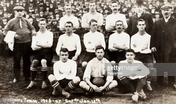 The Tottenham Hotspur football team prior to their FA Cup 1st round match against Hull City on 12th January 1907 The match ended in a 00 draw as did...