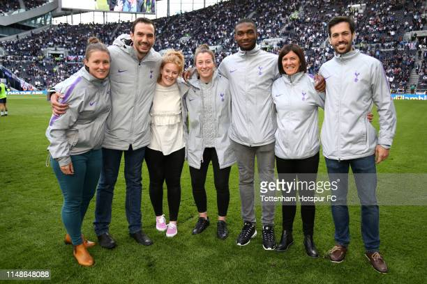 The Tottenham Hotspur ladies team pose for a photo on the pitch at half time during the Premier League match between Tottenham Hotspur and Everton FC...