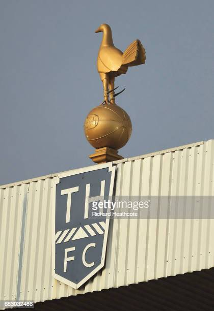 The Tottenham Hotspur logo is seen on the stand after the Premier League match between Tottenham Hotspur and Manchester United at White Hart Lane on...
