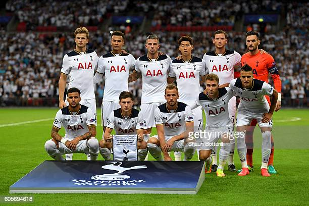 The Tottenham Hotspur players pose for photos during the UEFA Champions League match between Tottenham Hotspur FC and AS Monaco FC at Wembley Stadium...