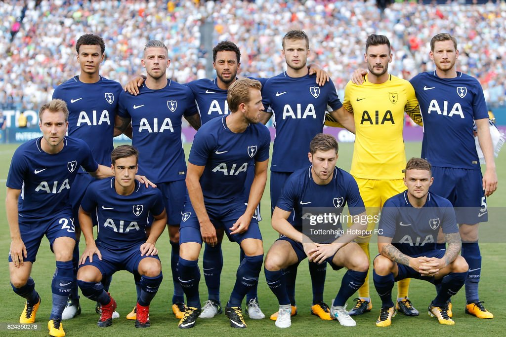 The Tottenham Hotspur starters pose for a photo prior to the match against Manchester City in the International Champions Cup 2017 at Nissan Stadium on July 29, 2017 in Nashville, Tennessee.