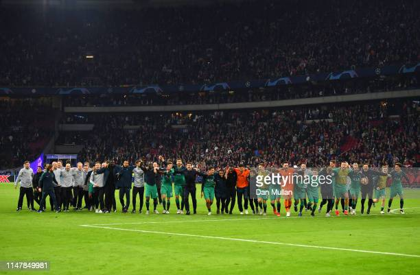 The Tottenham Hotspur team celebrate victory after the UEFA Champions League Semi Final second leg match between Ajax and Tottenham Hotspur at the...