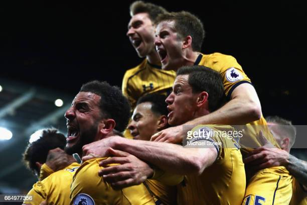 The Tottenham Hotspur team celerbate after Christian Eriksen of Tottenham Hotspur scores his side third goal during the Premier League match between...