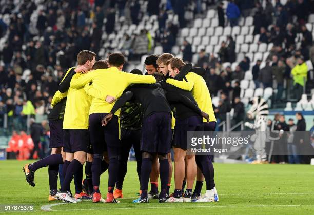 The Tottenham Hotspur team create a huddle prior to the UEFA Champions League Round of 16 First Leg match between Juventus and Tottenham Hotspur at...