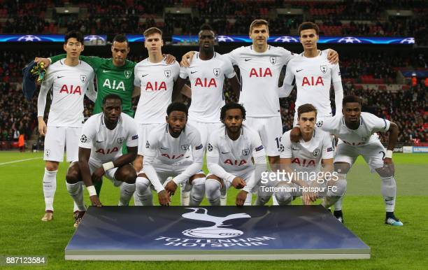 The Tottenham Hotspur team line up prior to the UEFA Champions League group H match between Tottenham Hotspur and APOEL Nicosia at Wembley Stadium on...