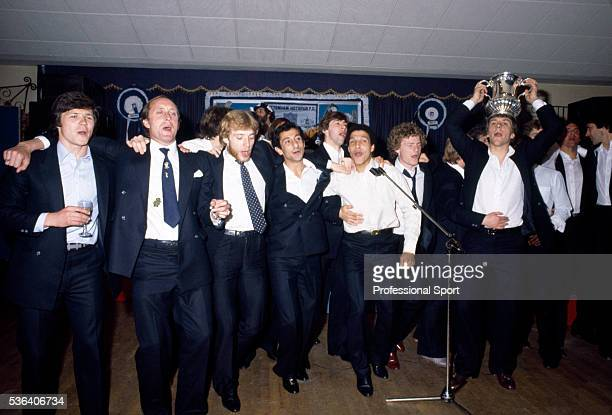 The Tottenham Hotspur team singing 'Ossie's Dream' at the party after the FA Cup Final Replay between Tottenham Hotspur and Manchester City at...