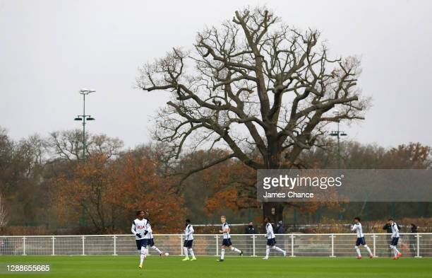 The Tottenham Hotspur team walk out prior to the Premier League 2 match between Tottenham Hotspur and Leicester City at Tottenham Hotspur Training...