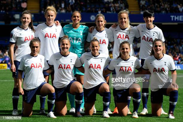 The Tottenham Hotspur Women prior to the Barclays Womens Super League match between Chelsea Women and of Tottenham Hotspur Women at Stamford Bridge...