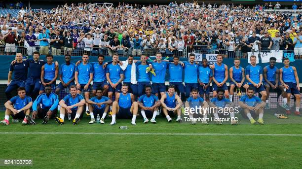 The Tottenham Hotspur's pose for a team photo following the training session at Nissan Stadium on July 28 2017 in Nashville Tennessee